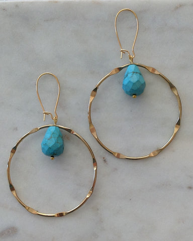 Gold hoop with turquoise facet drop