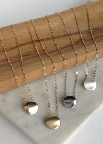 Dot necklace comes in 4 different finishes