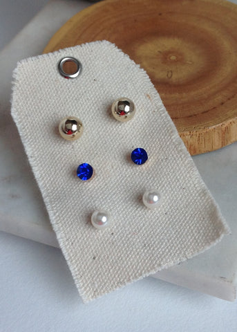Post earring set of three with royal blue diamond gold ball and pearl ball
