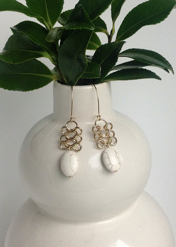 Lace top white stone earrings