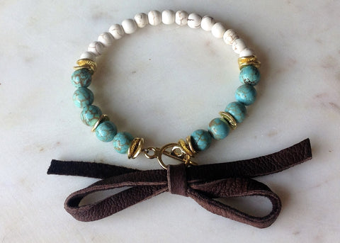 Leather bow turquoise bracelet