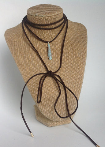Suede wrap leather with turquoise drop