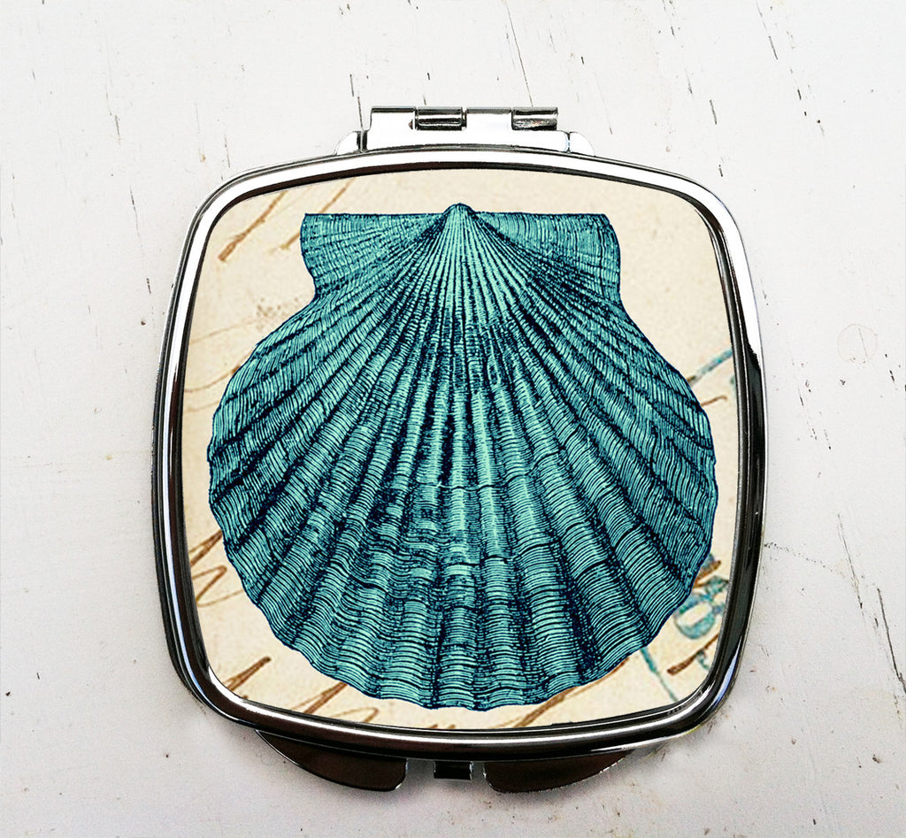 Blue Shell Pocket Mirror