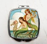 Mermaids with Seahorse Pocket Mirror