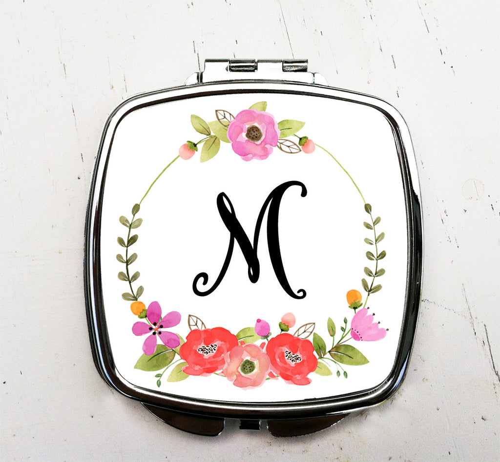 Monogram Initial Floral Wreath Pocket Mirror Graduation Gift