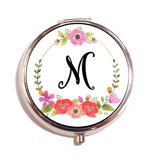Monogram Initial Floral Wreath Pill Box Organizer Graduation Gift