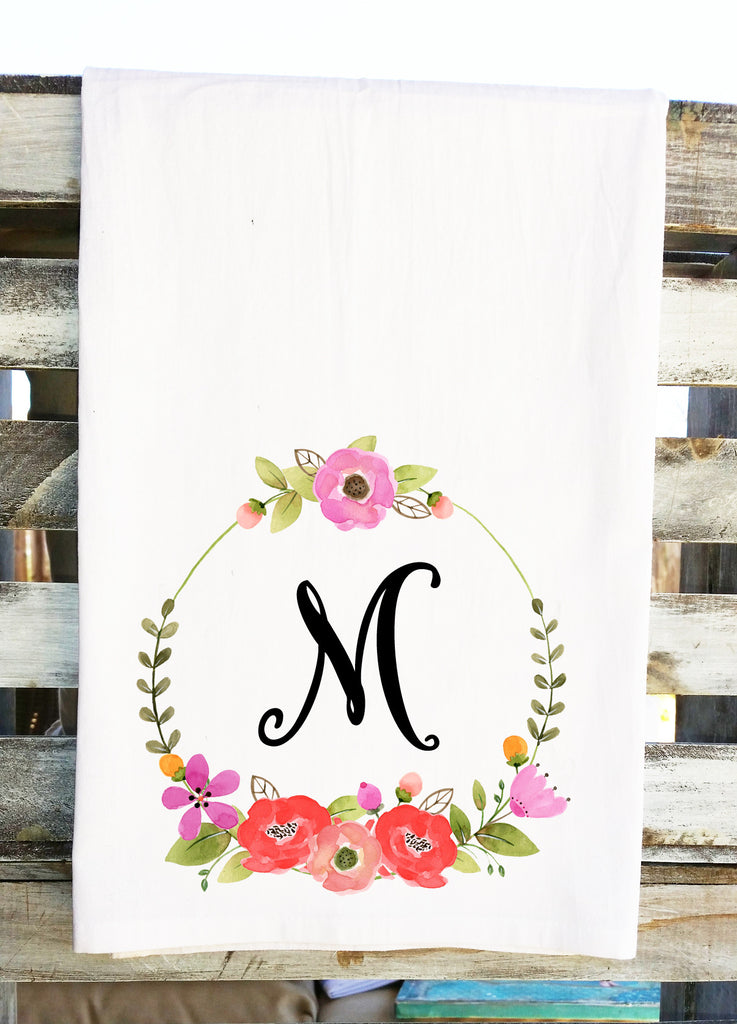 Personalized Monogram Initial Floral Wreath Tea Towel
