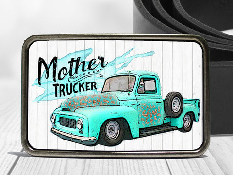 Mother Trucker Turquoise Blue Truck Boho Belt Buckle