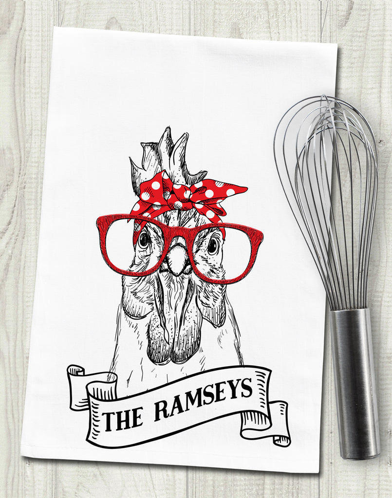 Personalized Family Name Funny Chicken Tea Towel
