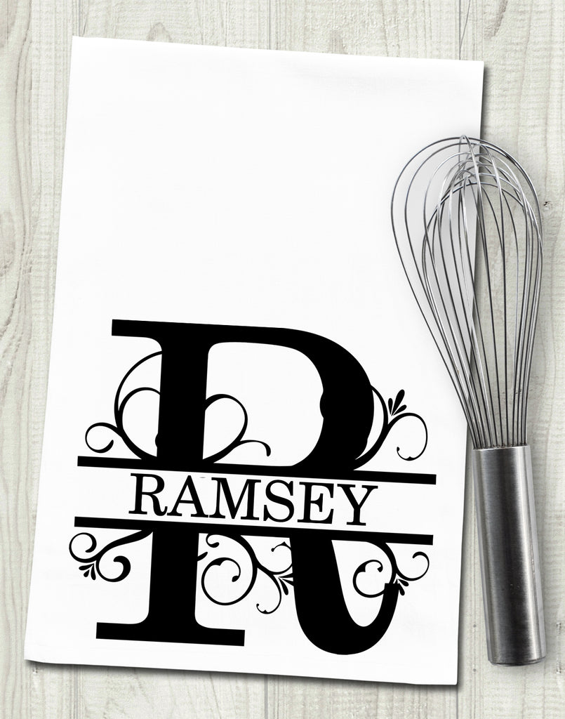 Custom Name Split Scroll Initial Tea Towel