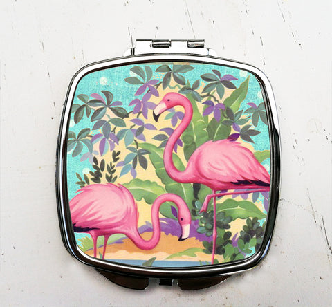 Retro Flamingo Pocket Mirror
