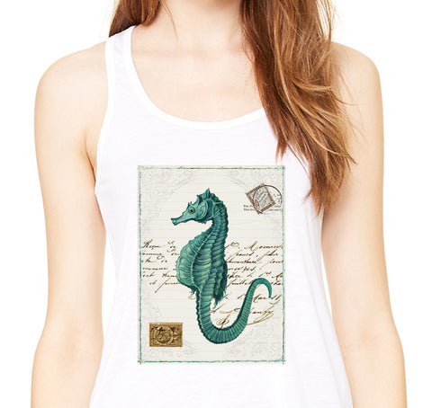 Turquoise Seahorse Flowy Racerback Tank