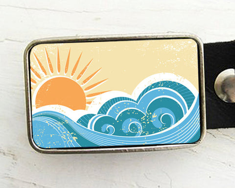 Sun and Waves Belt buckle