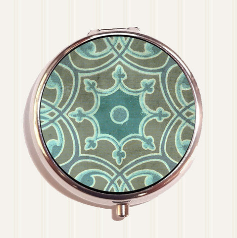 Turquoise Scroll Pill Organizer Box