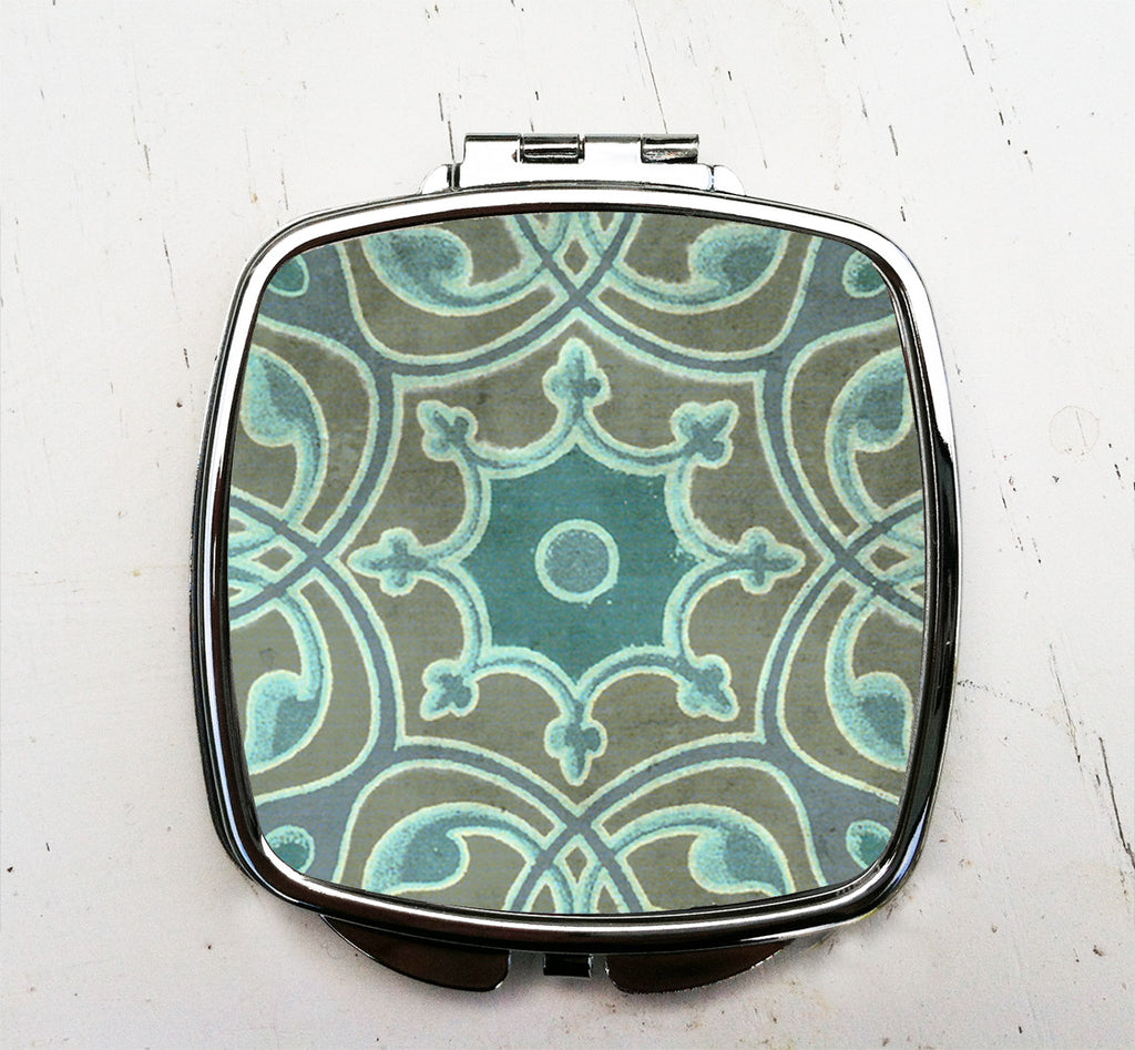 Turquoise Scroll Pocket Mirror