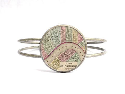 Vintage New Orleans Map Bangle Cuff Bracelet