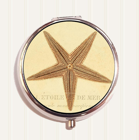 Vintage Starfish Illustration Pill Box