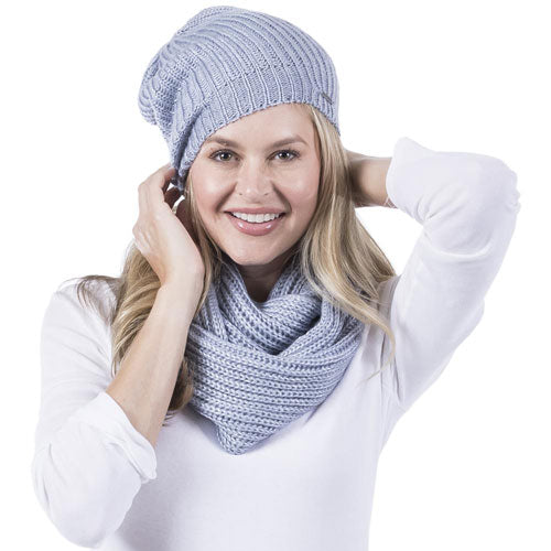blue knitted beanie and scarf
