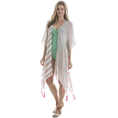chiffon pom pom swimsuit cover up