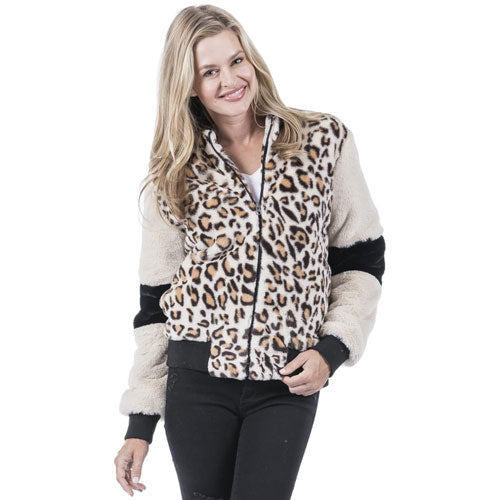 faux rabbit leopard print jacket