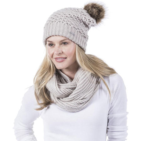 woman in knit beanie and scarf