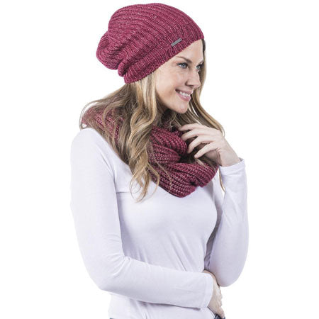 red beanie and infinity scarf