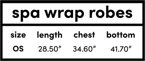 Spa Wrap Robes Sizing Chart