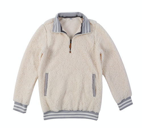 vintage-inspired sherpa pullover