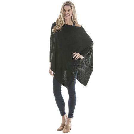 women's lightweight poncho in black