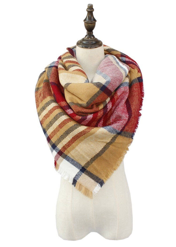 yellow-red-plaid-blanket-scarf