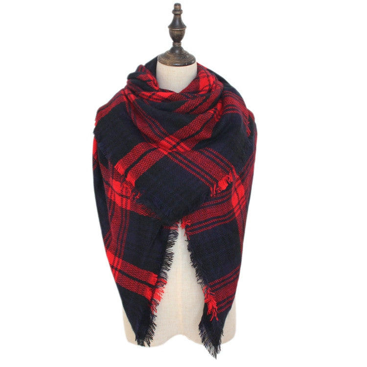Wholesale Plaid Blanket Scarf Scarves (Red/Navy)