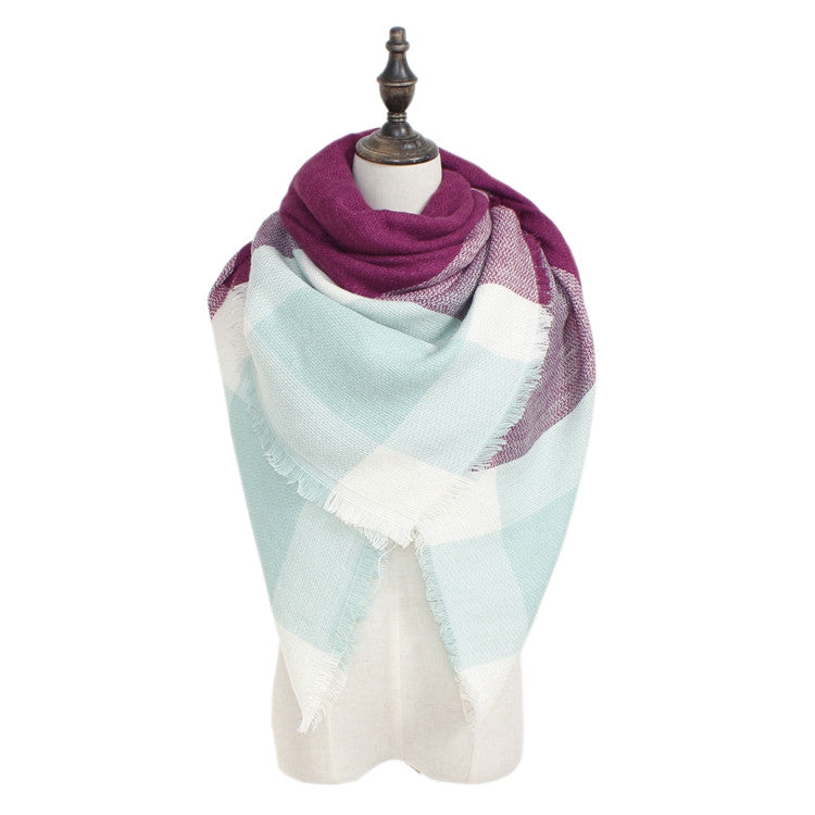 Wholesale Plaid Blanket Scarf Scarves (Purple/Mint)