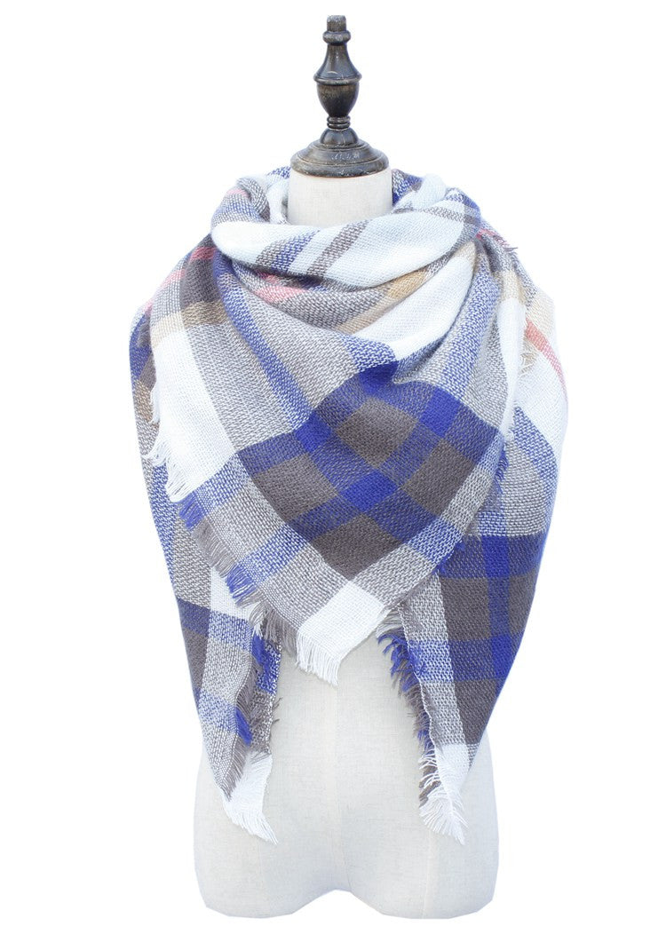 Wholesale Plaid Blanket Scarf Scarves (Gray/Blue/Pink)