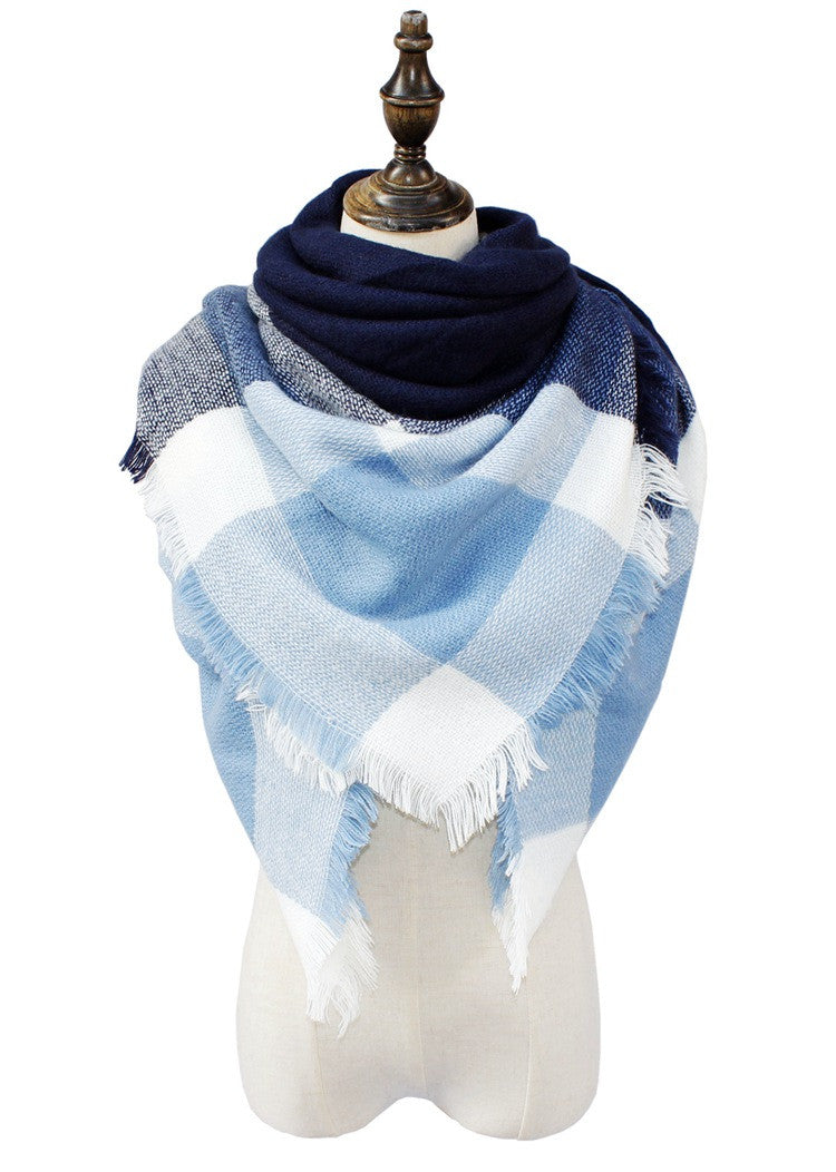 Wholesale Plaid Blanket Scarf Scarves (Light Blue/Navy)