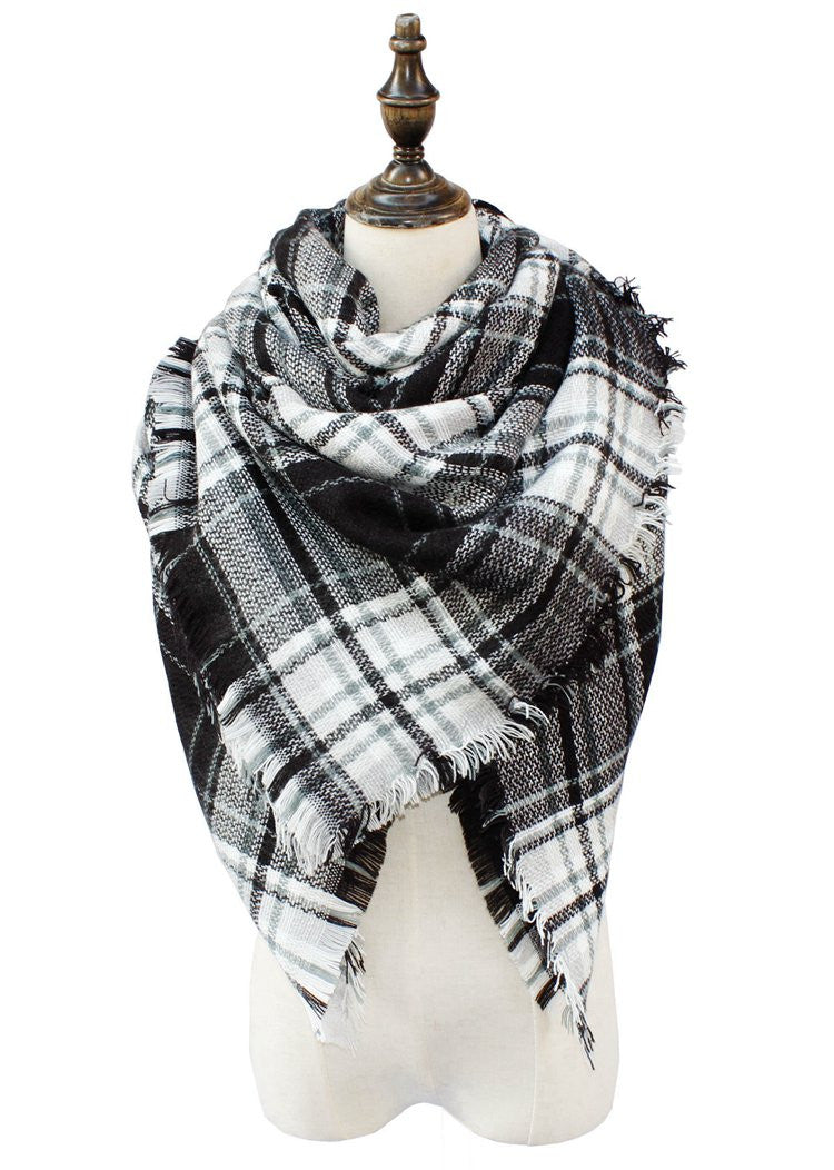 Wholesale Plaid Blanket Scarf Scarves (Black/White/Gray/Green)
