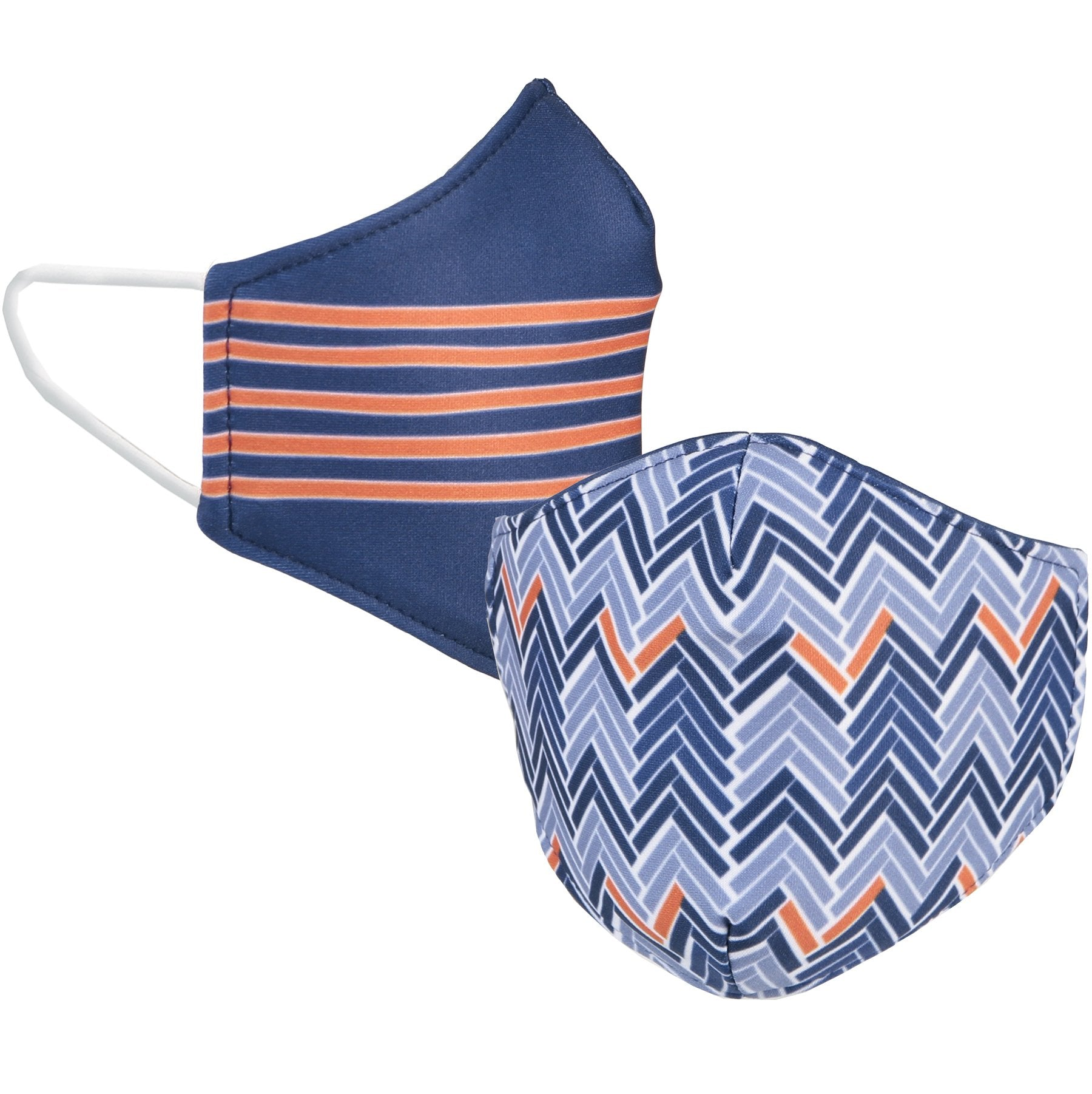 Orange and Navy Reversible Face Mask