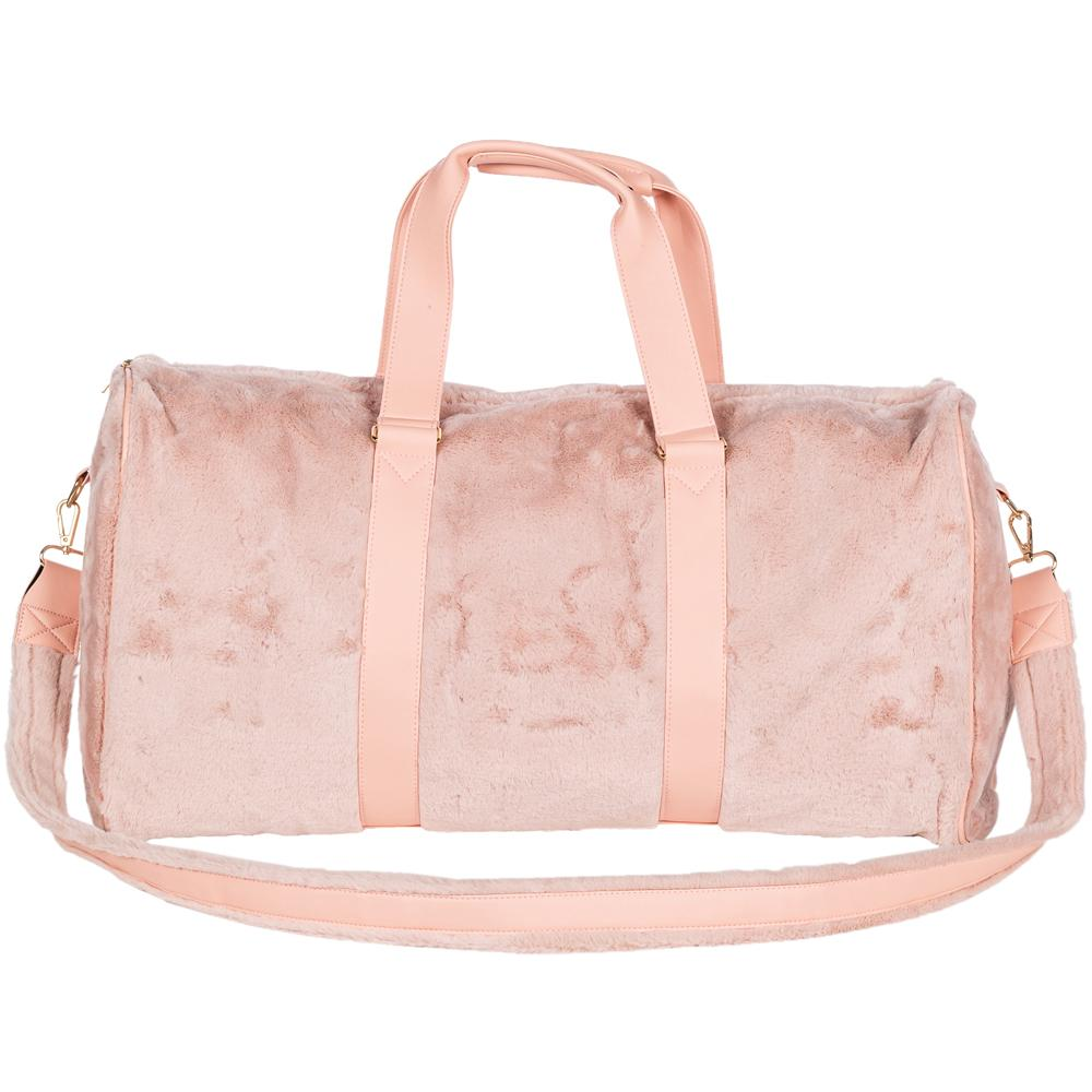 Light Pink Faux Fur Wholesale Weekender Bags