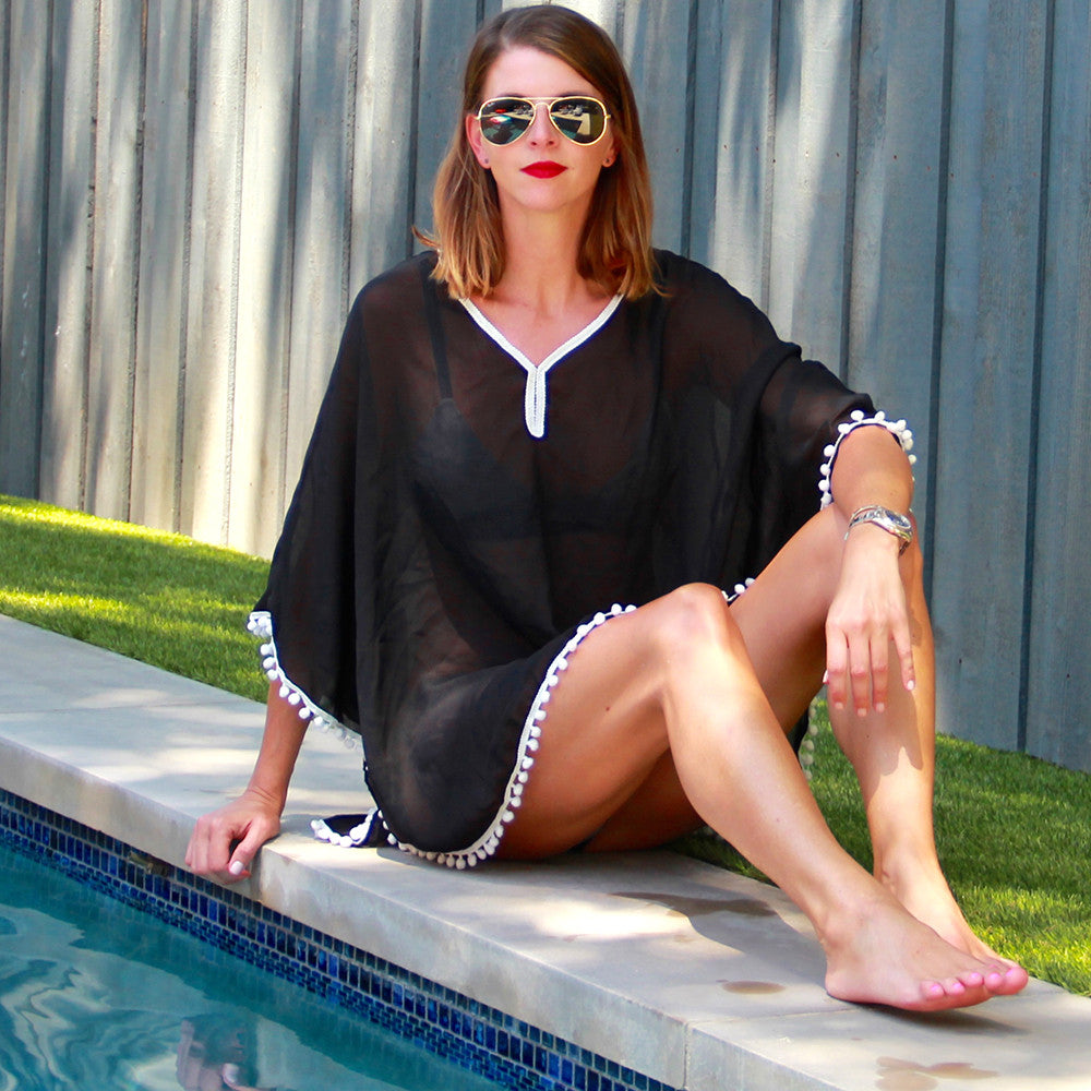 Katydid Wholesale Black Chiffon Beach Cover-Ups