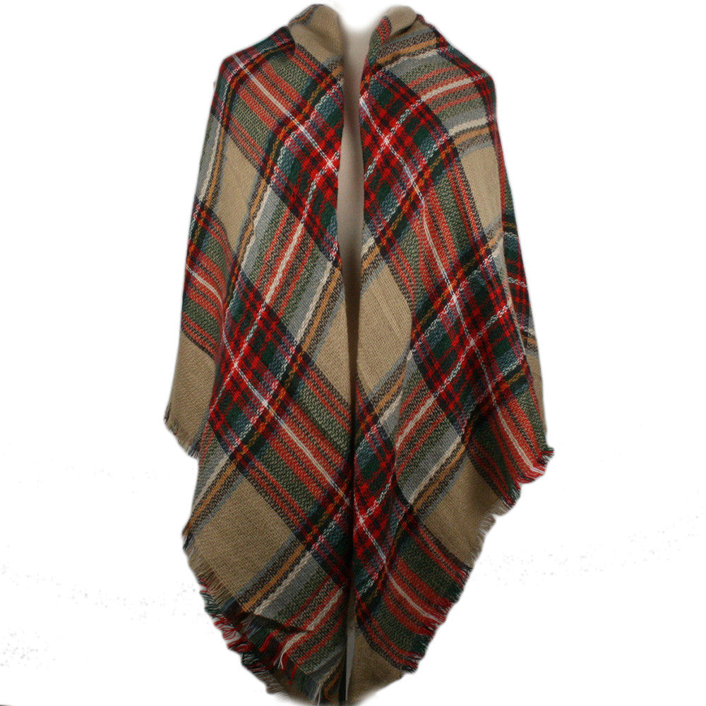 Wholesale Plaid Blanket Scarf Scarves (Red/Tan)