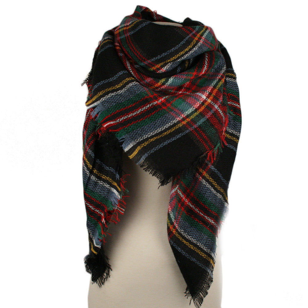 Wholesale Plaid Blanket Scarf Scarves (Black/Red)