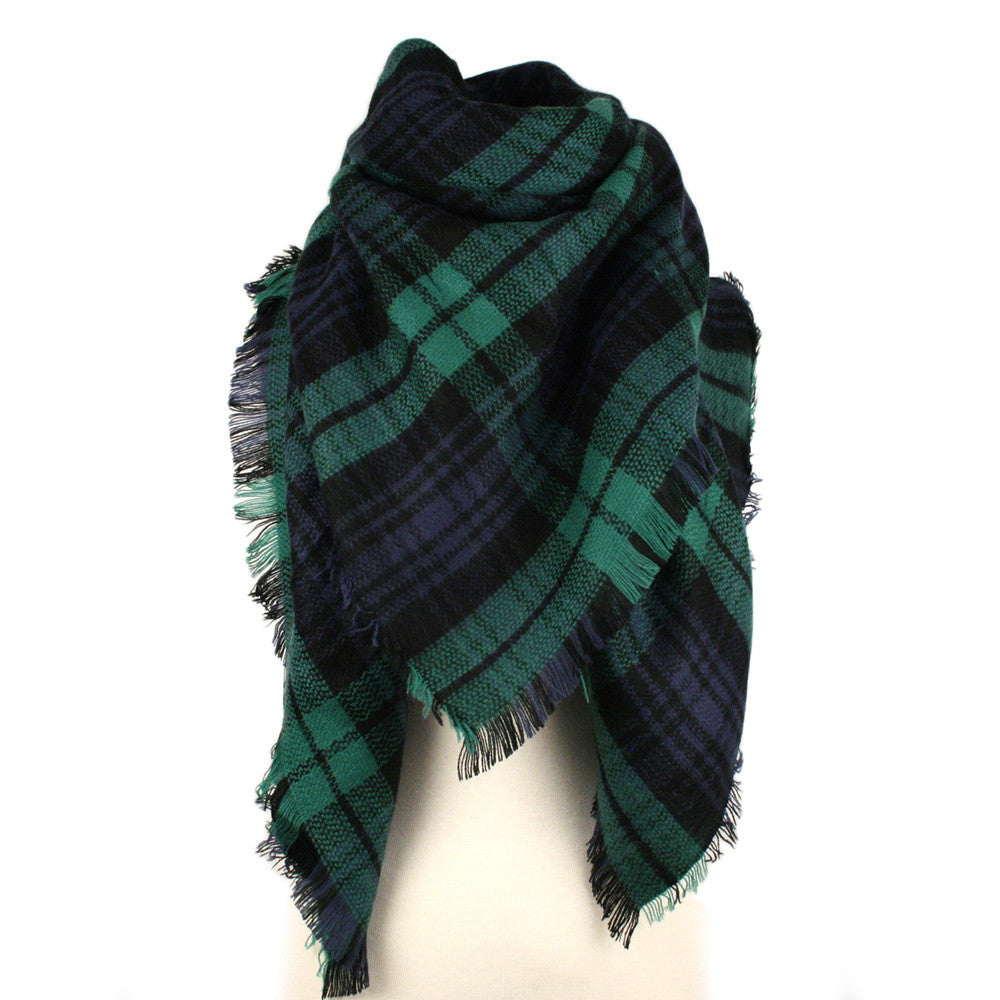 Green blue plaid blanket scarf