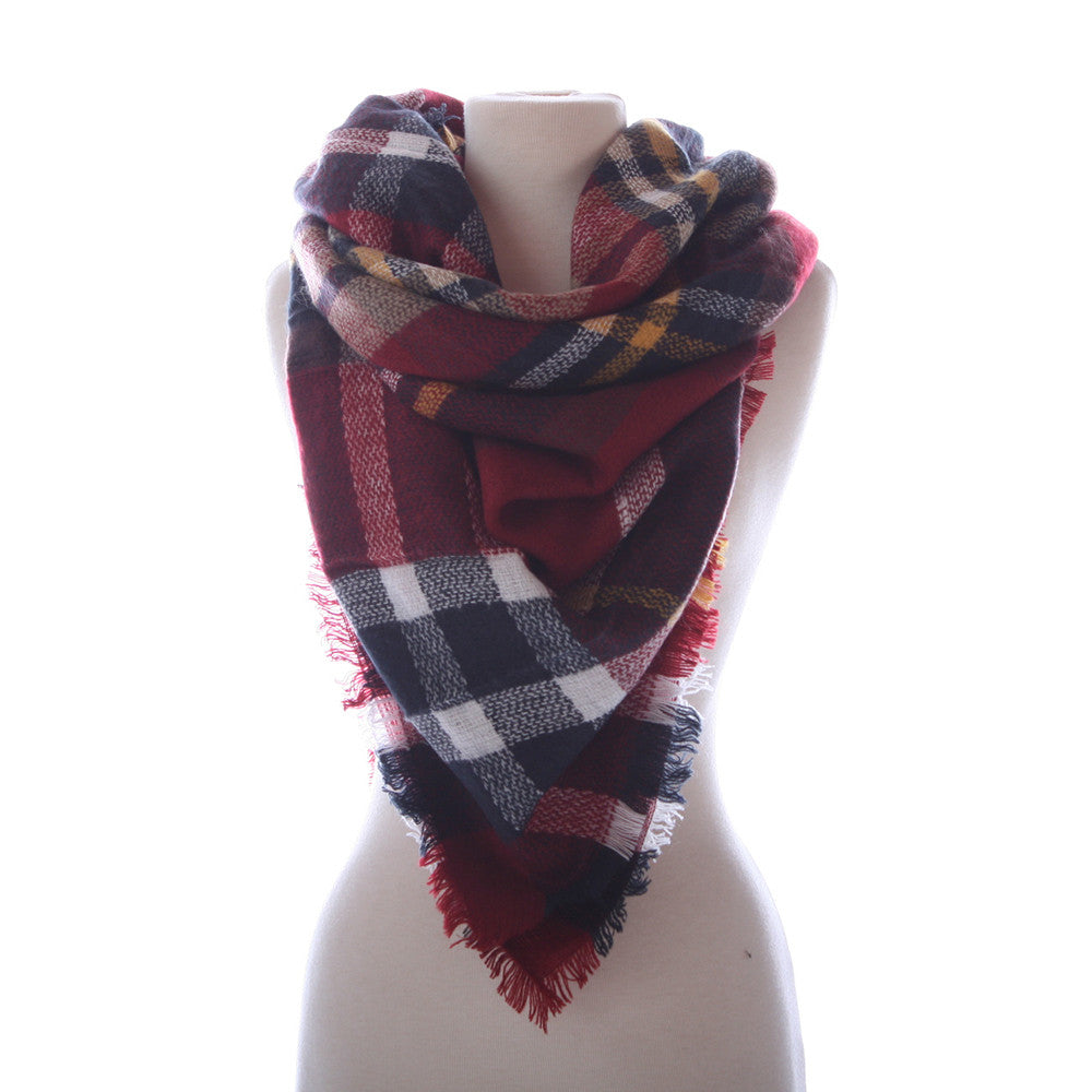 Wholesale Plaid Blanket Scarf Scarves (Burgandy, Navy, Cream)