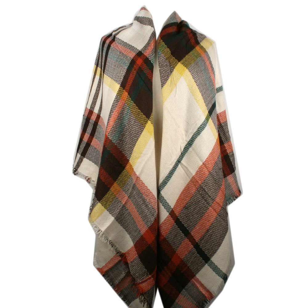 Wholesale Plaid Blanket Scarf Scarves (Brown/Orange/Cream)