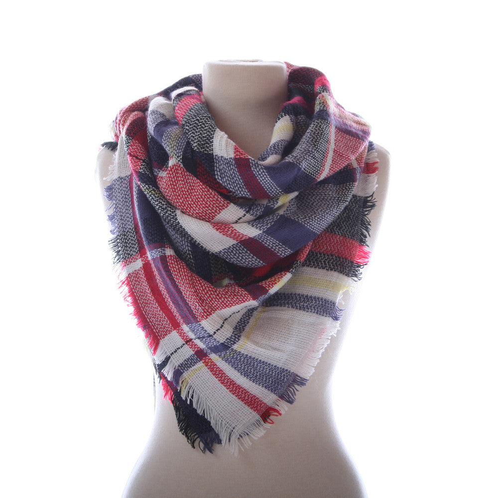 Wholesale Plaid Blanket Scarf Scarves (Red, Blue, Cream)