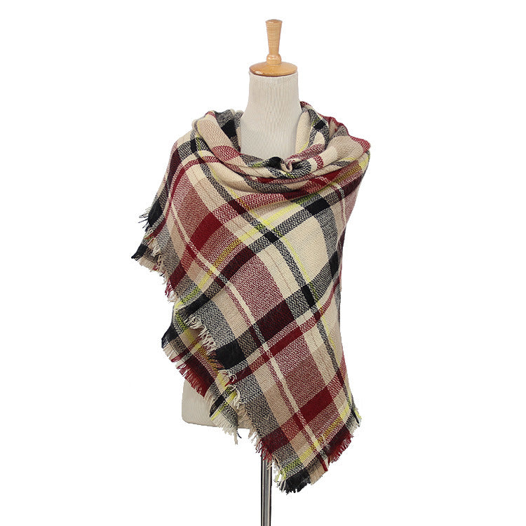 Red, Black & White Plaid Women's Wholesale Blanket Scarf