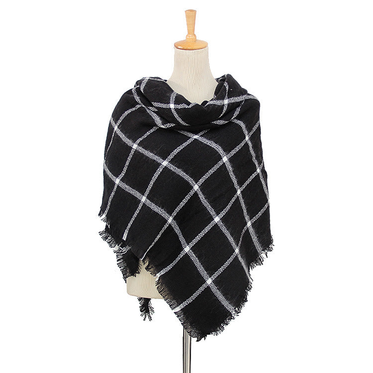 Black & White Plaid Wholesale Women's Blanket Scarf