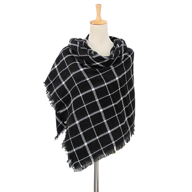 Black Plaid Women's Wholesale Blanket Scarves