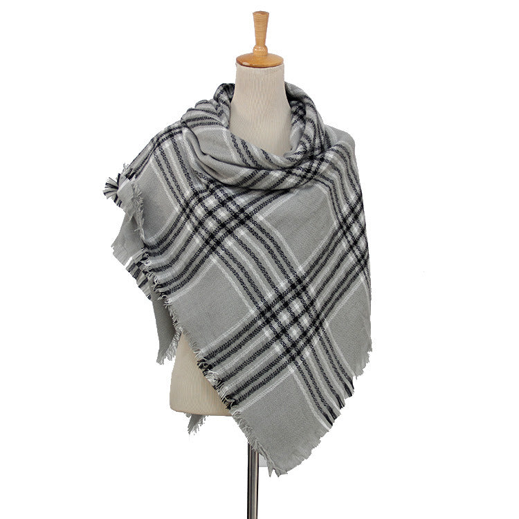 Black & Gray Plaid Wholesale Women's Blanket Scarf