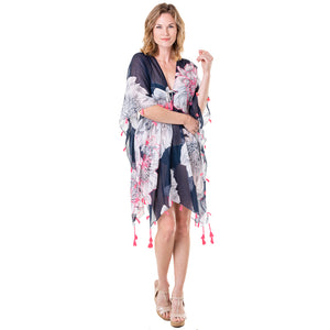 Navy Floral Wholesale Swimsuit Cover Ups