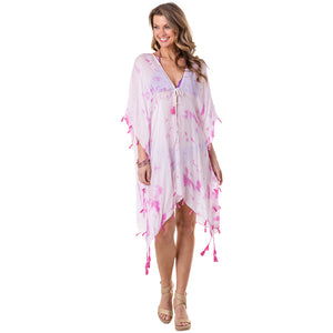 White and Pink Tie Dye Wholesale Swimsuit Cover Ups